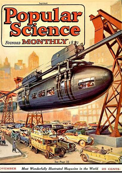 Science Popular Monorail Magazine Covers Fiction Pulp