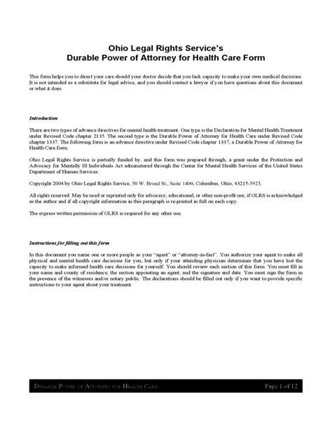 durable power  attorney  health care ohio