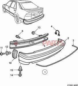9082272  Saab Rear Bumper Cover  Grey
