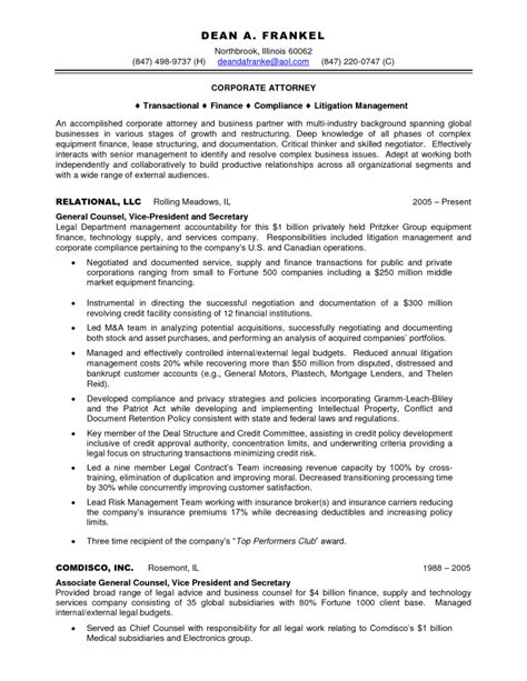 Resume Lawyer Corporate by Sle Resume Sle Resume For Attorney On Inhouse