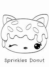 Donut Coloring Num Noms Kawaii Sprinkles Donuts Sprinkle Sketch Cat Drawings sketch template