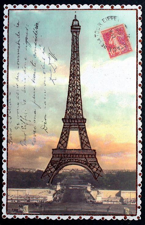 vintage eiffel tower postcard   design cracker