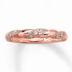 Inexpensive round diamond wedding ring band in rose gold for Wedding ring rose gold