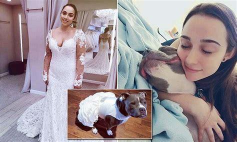 bride   buys  pit bull  white bridal dress