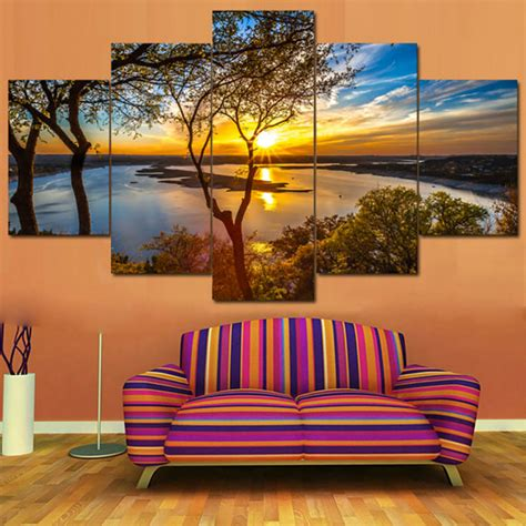 Shop wayfair for a zillion things home across all styles and. 5 Piece Multi Panel Wall Art Beautiful Sunrise Natural Landscape Tableau Home Decoration Living ...