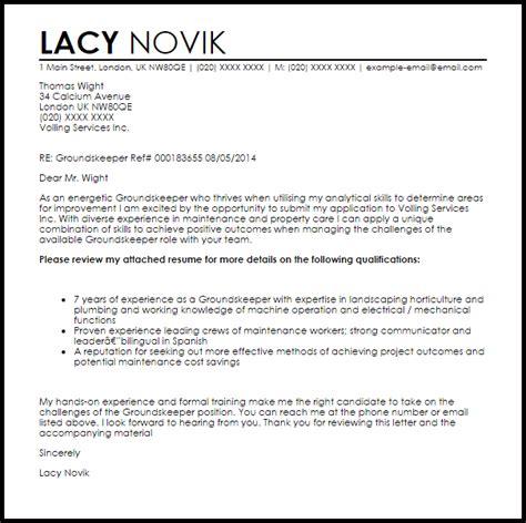 groundskeeper cover letter sle livecareer