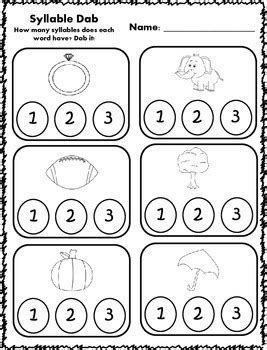 syllable dab activities by klever kiddos teachers pay