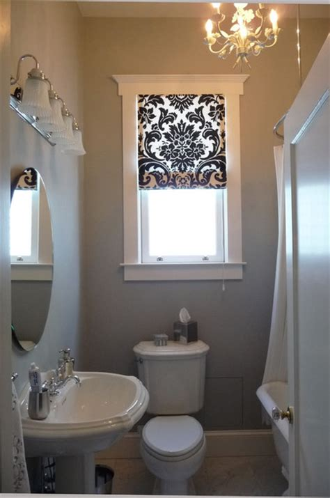 l shades san francisco black and white roman shade in the bathroom traditional