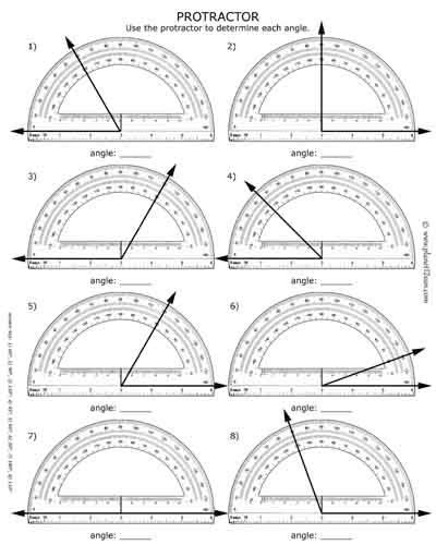 How To Use A Protractor Free Worksheet With Answer Key Black & White  Worksheets For Kids