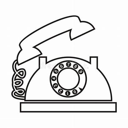 Telephone Dial Hook Coloring Silhouette Receiver Vector