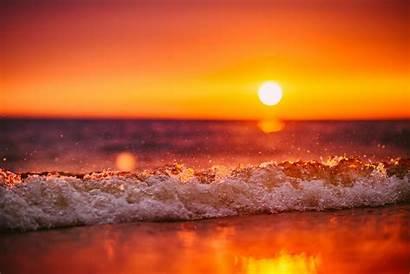 Sunset Beach Waves Wave Tilt Shift Sea