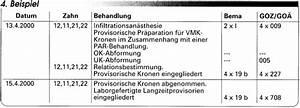 Goz Zahnarzt Abrechnung : abrechnung nach bema und goz einzelkronen eine gegen berstellung ~ Themetempest.com Abrechnung