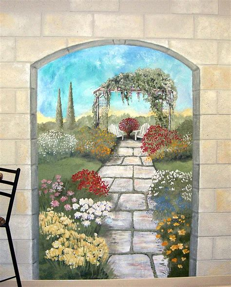 garden mural on a cement block wall colorful flower