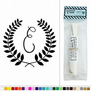 letter e monogram calligraphy laurel wreath vinyl sticker With wall art letters stickers