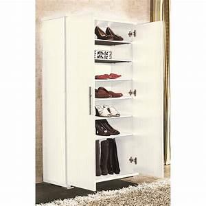 Armoire à Chaussures : armoire chaussures avec 6 tag re blanc achat vente meuble chaussures armoire ~ Teatrodelosmanantiales.com Idées de Décoration