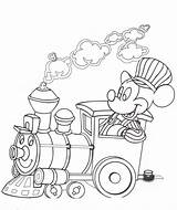 Coloring Mouse Mickey Train Popular sketch template