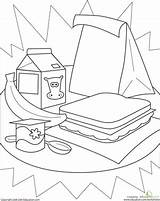 Healthy Lunch Coloring Pages Worksheet Lunches Worksheets Kindergarten Cafeteria Cute Education Packed Learning Sandwich Sheet Stuff Printable Template Eat Yahoo sketch template