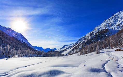 wallpaper blue sky winter mountains snow  nature