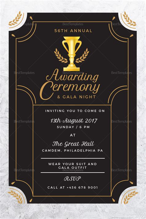 annual award ceremony invitation design template  psd