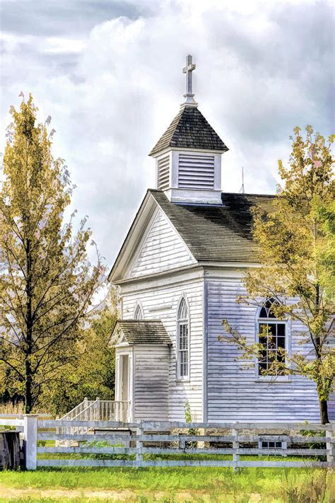Country Church At Old World Wisconsin Painting By