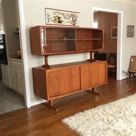 Glass Front Buffet Sideboard by Teak Sideboard With Glass Front Top Cabinet By