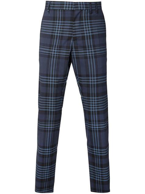 vivienne westwood plaid trousers  blue  men lyst