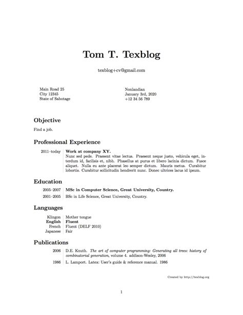 writing  cv  latex texblog