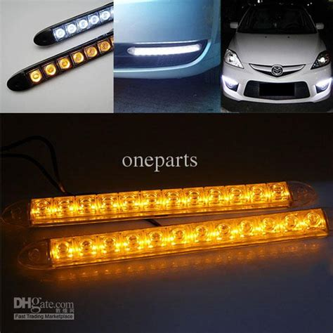 led light strips for cars exterior 2x 12 led flexible light strip with turning yellow amber