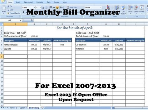 bill organizer template excel bill organizer template excel divide payments into 1st 2nd half of the month