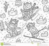 Yeti Mountain Skiing Vector Pattern Illustration Seamless Cartoon Cute Fun Preview Cold sketch template