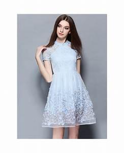 baby blue lace short wedding guest dress gemgrace With lace wedding guest dresses