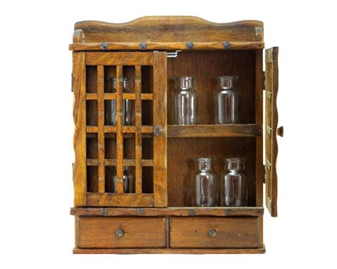spice cabinet wall mount vintage wooden spice rack or storage cabinet wall mount