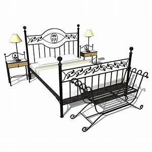 Wrought iron bed sets wrought iron bedroom set 3d model for Wrought iron bedroom set