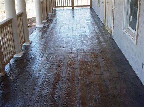 Wood Plank Stamped/Stained Concrete Porch   Traditional