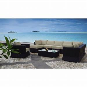 Oasis Outdoor 9 Seat Modular Lounge Set in Coffee