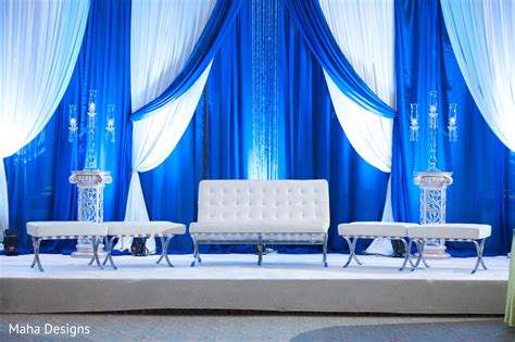beautiful indian wedding reception features blue