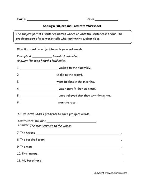adding a subject and predicate worksheet englishlinx board pinterest best worksheets ideas