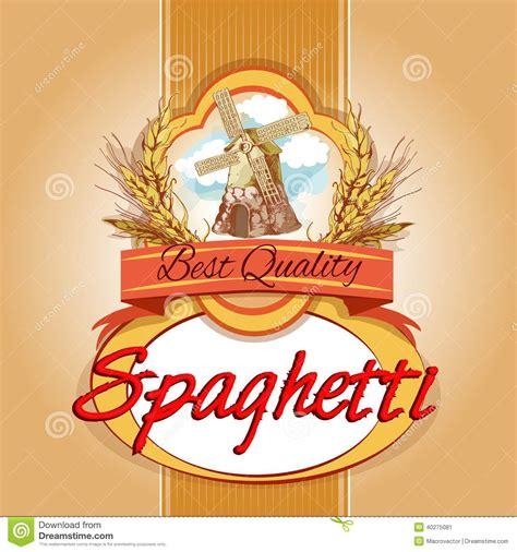 spaghetti pack label stock vector image