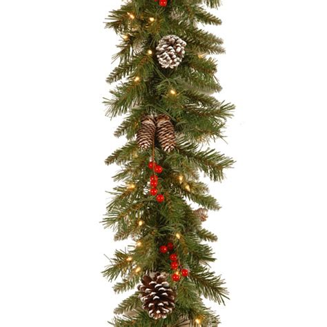 national tree pre lit 9 x 10 quot frosted berry garland with