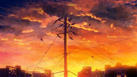 wallpaper anime sunset landscape birds clouds