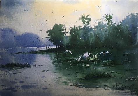 watercolor painting at powai lake 02 by artist prashant sarkar impressionism painting