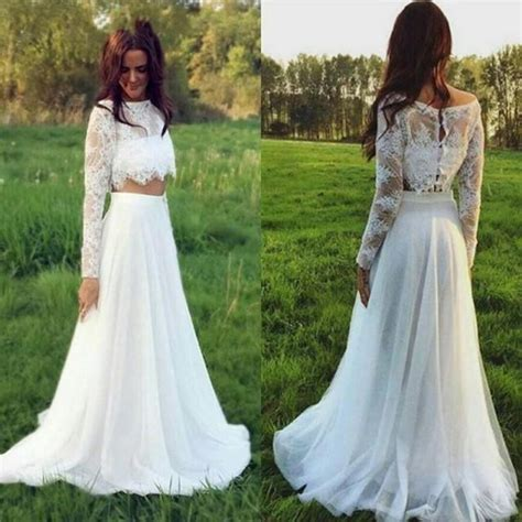 stunning two pieces lace 2016 wedding dresses plus size