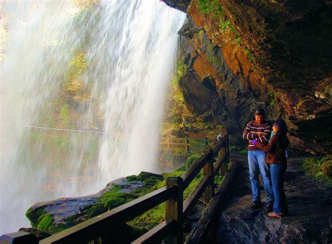 walk  dry falls waterfall  highlands nc