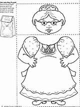Lady Swallowed Fly Printable Coloring Bag Paper Template Puppet Woman Preschool Activities Kindergarten Crafts Obseussed Pages Leaves Puppets Know Felt sketch template