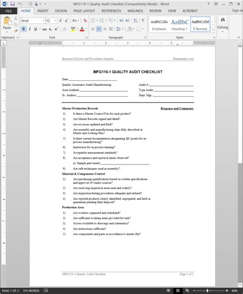 manufacturing quality audit checklist template mfg110 1