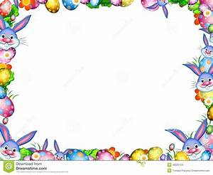 Easter Bunnies With Colorful Eggs And Flowers Border Frame ...