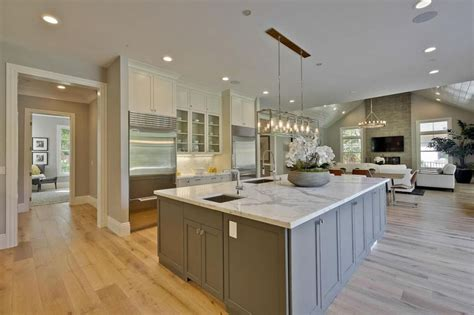 white marble kitchen island 25 beautiful transitional kitchen designs pictures