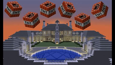 blowing   huge minecraft mansion youtube