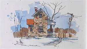 Line and wash demonstration of a Stone Farmhouse ...