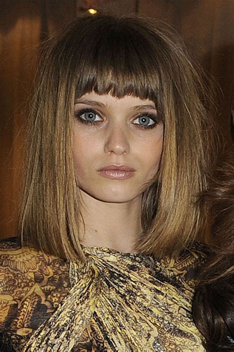 abbey lee kershaw straight medium brown bun choppy bangs